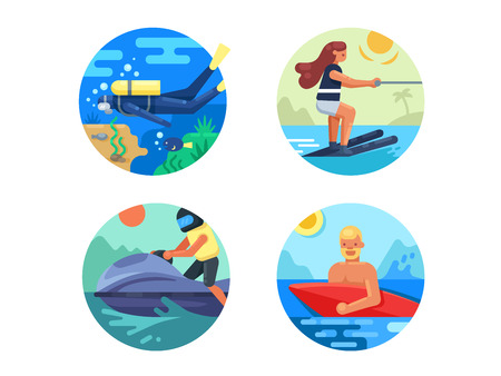 water sport: Water sport icon set