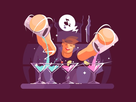 barkeeper: Young bartender pouring drinks