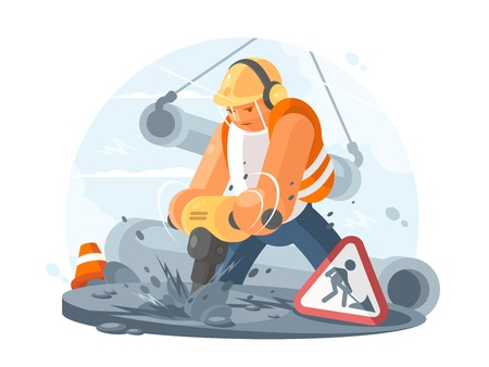 Road worker with puncher