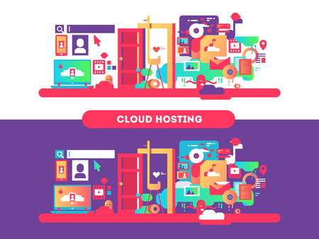 electronic background: Cloud hosting design