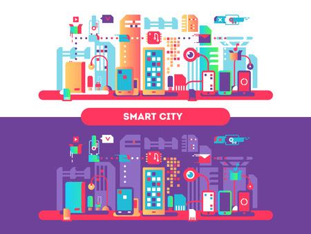 Concepto de la ciudad inteligente Foto de archivo - 74434338
