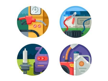 car tire: Filling machine set icons Illustration