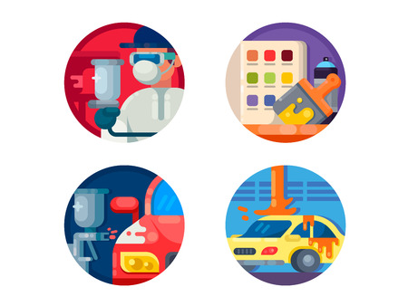 tire cover: Auto painting set icons