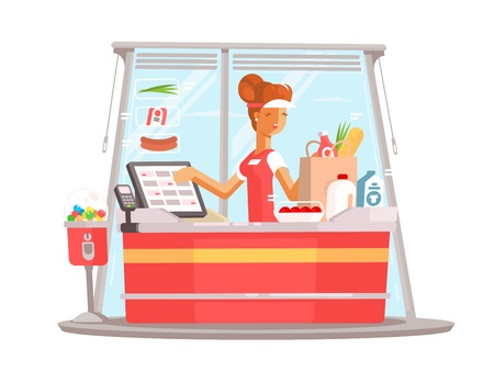 Young girl cashier Ilustrace