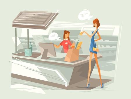 Cashier in supermarket at workplace Illustration