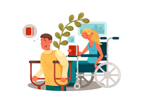 Persons with disabilities. Man with crutches and woman in wheelchair. Vector illustration
