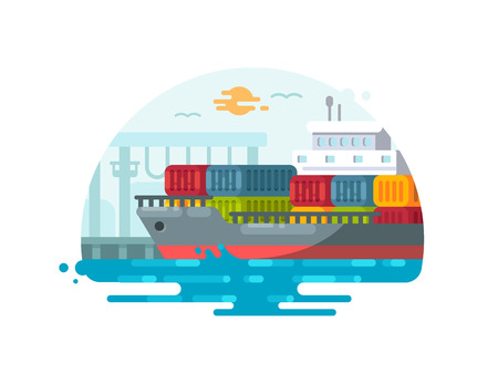 Maritime logistics and transportation. Ship loaded with containers at port. Vector illustration Illustration