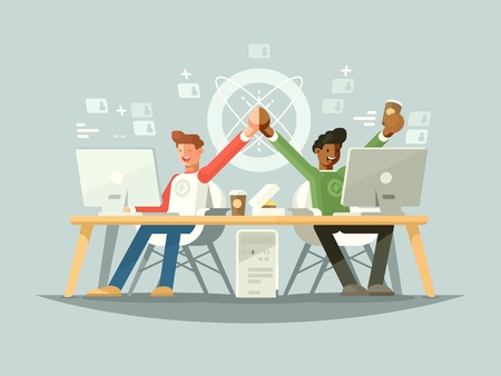 Joy of colleagues. Success of two partners in project. Vector illustration