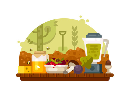 Organic food vegetables fruits Ilustrace