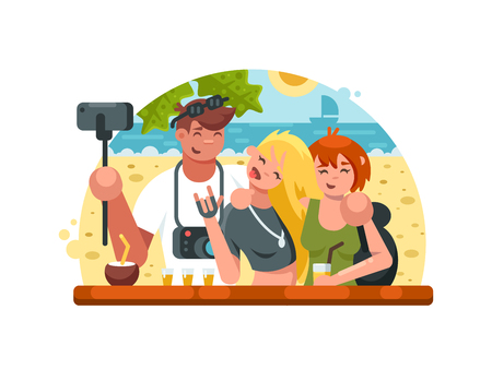 Company of friends making selfies