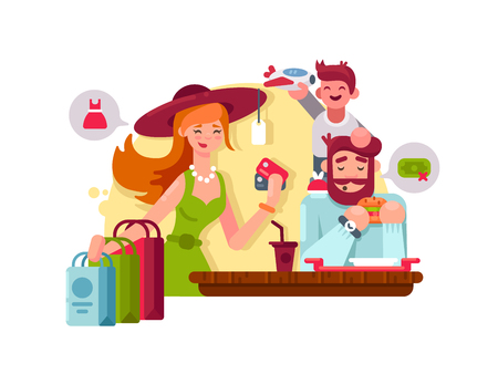 young family: Young family shopping Illustration