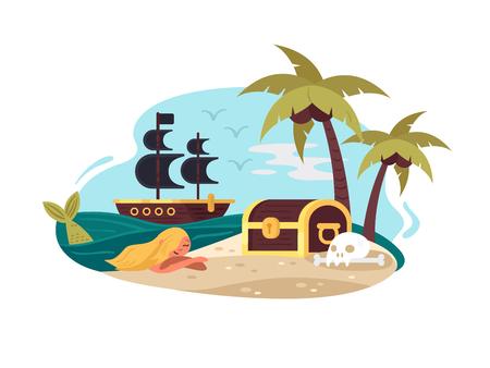 Pirate uninhabited island Illustration