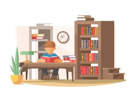niños estudiando: Estudiante lee el libro en la biblioteca