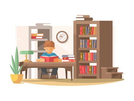 Student reads book in library Illustration