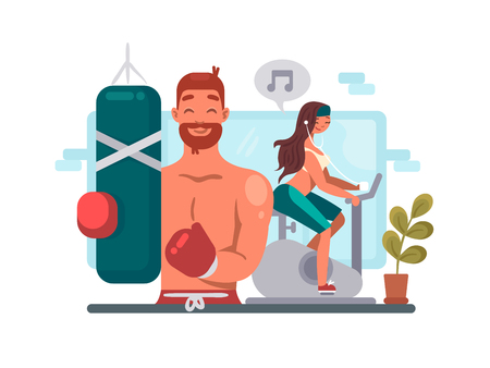 music background: Man and woman training in gym Illustration