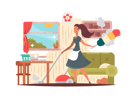 cleaning service: Girl housekeeper cleans apartment Illustration