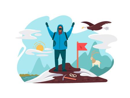 Happy mountaineer on top mountain