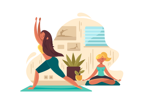 Young girls practicing yoga Illustration