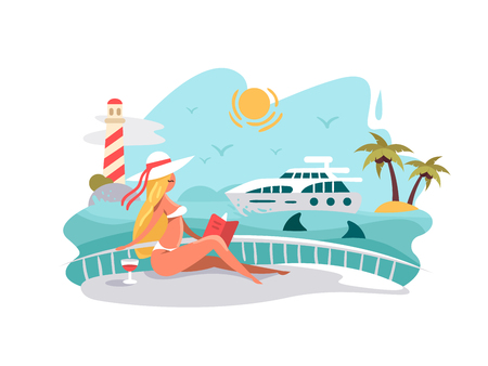 Attractive girl reading book on deck of yacht. Summer vacation at sea. Vector illustration