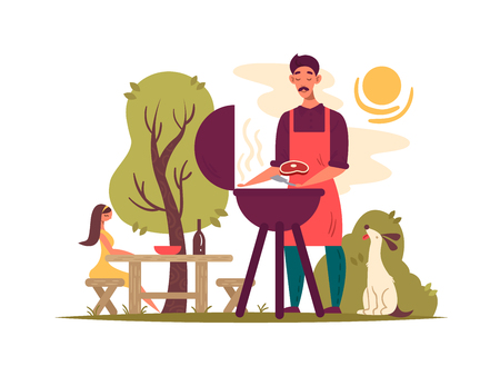 Man preparing barbecue on grill