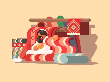 rug texture: Seller of woolen carpets Illustration
