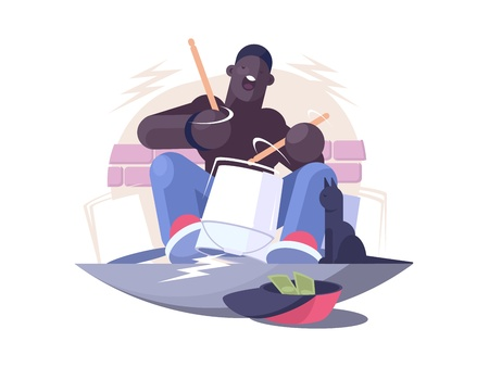 Street musician african american plays drum for money. Vector illustration