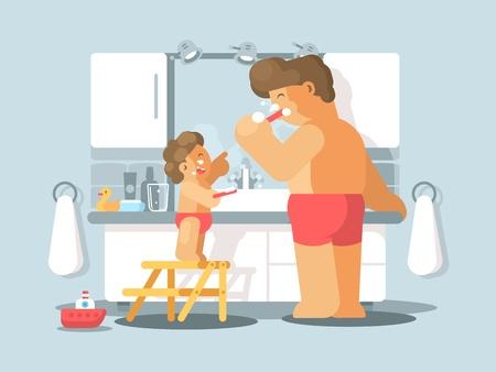 Padre e hijo cepillarse los dientes en el baño por la mañana. Ilustración del vector Foto de archivo - 76501709