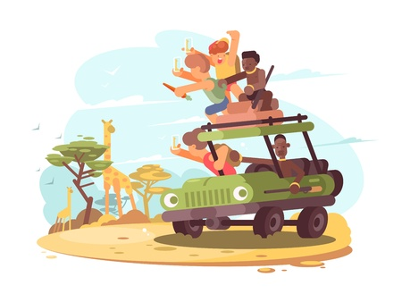 offroad car: Group of tourists on safari