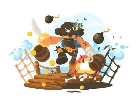 Mad pirate with hook