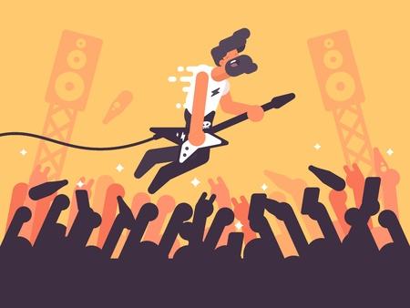 Rock guitarist plays at concert