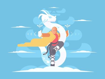 Tibetan monk character. Kung Fu martial arts asia. Vector illustration Stock Vector - 77411552