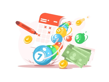 Vector illustration of calendar and lottery ticket