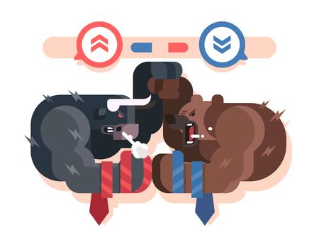 雄牛と熊の戦い  イラスト・ベクター素材