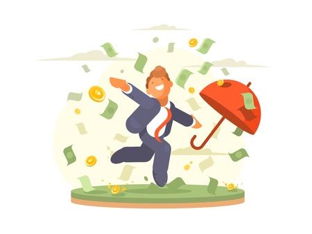 Businessman dances under money rain