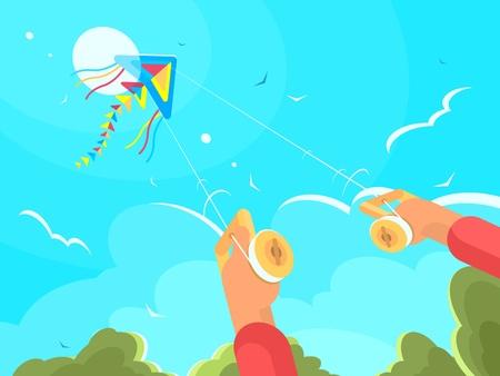 凧で遊ぶ男  イラスト・ベクター素材