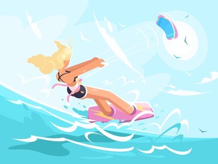 Sport girl on kite surfing