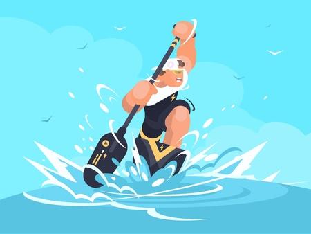 Sterke man zwemt in kano op sportevenement. Vector illustratie
