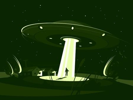 Spaceship abducts man Illustration