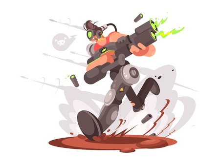 Player gamer guy runs with blaster in virtual world. Vector illustration