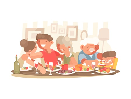Happy family at dinner table Illustration