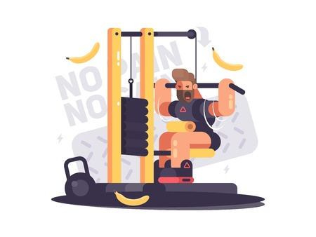 Athlete trains on sport apparatus in gym. No pain no gain. Vector illustration Stock Photo