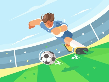 Soccer player running with ball Stock Vector - 78350831