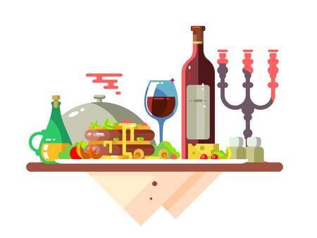 レストランで料理と食卓  イラスト・ベクター素材