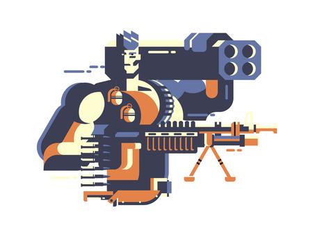 Soldier with gun Illustration