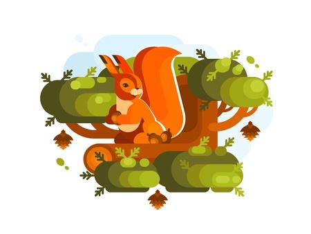 Cartoon squirrel with acorn