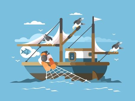 漁師が漁網を引っ張る