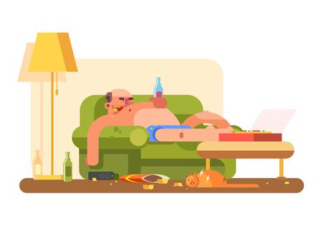 Lazybones character design flat