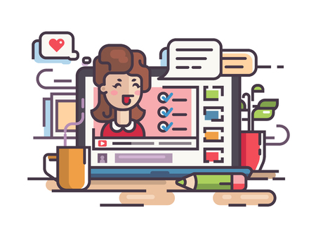 articles: Blogger girl writes articles and videos Illustration