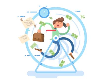 Hombre de negocios, rueda Ilustración de vector
