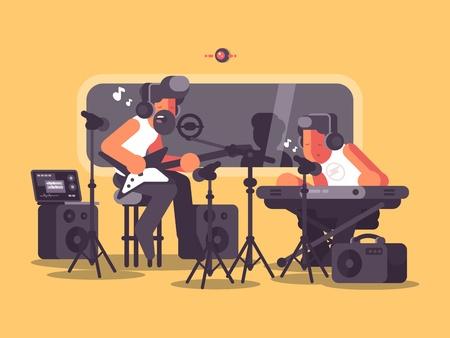 Sound recording studio with audio equipment Illustration